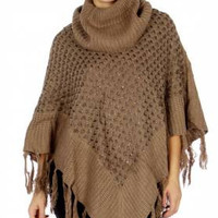 Cowl Neck Knit Poncho in One Size Fits Most in 3 Colors