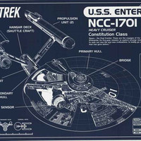 Star Trek USS Enterprise Blueprint Poster 24x36