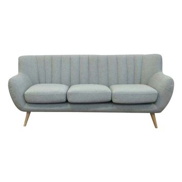 "Mid-Century Modern Scandinavian Light Grey ""Lilly"" 3-Seater Sofa"