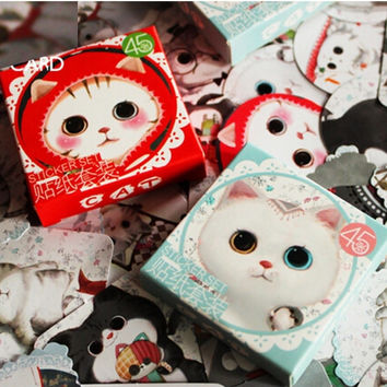 90 pcs 2 boxes mini cat sticker set decoration decal DIY ablum diary scrapbooking sealing sticker kawaii stationery K7405