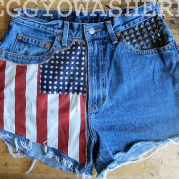 Vintage American Flag high waist cut off denim brass stud festival shorts 10 frays boho Americana hippie