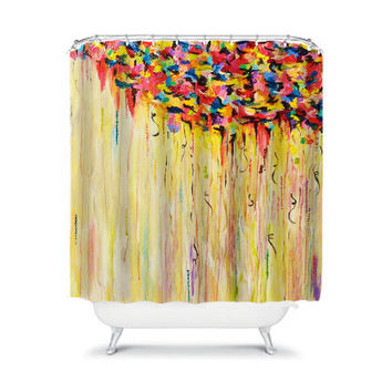 RAINING SUNSHINE Fine Art Painting Shower Curtain Washable Decor Rainbow Rain Clouds Colorful Nature Sky Happy Bright Stylish Dorm Bathroom