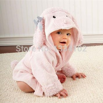 Retail boy girl Animal Baby bathrobe / baby hooded bath towel/kids bath terry children infant bathing / baby robe HoneyBaby