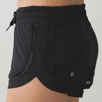 Lululemon Fashion Women Simple Drawstring Gym Yoga Sport Shorts Black I