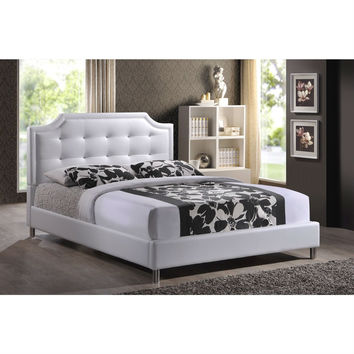 Full White Faux Leather Upholstered Platform Bed Frame with Button-Tufted Headboard