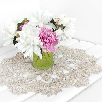 White Crochet doily, lace doily, table decoration, handmade, crocheted place mat, center piece, doily tablecloth, table runner, napkin