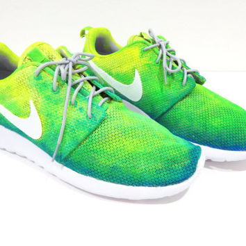 Neon Ombre Gradient Yellow Green Nike Roshe Run