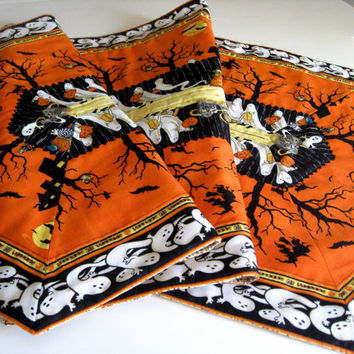 Quilted Halloween Table Runner Orange Black Extra Long