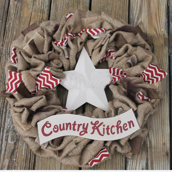 burlap wreath,country kitchen wreath, country home decor,kitchen wall decor, red kitchen decor, burlap kitchen, star decor, kitchen wreath,
