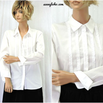 90s white cotton blouse M 1990s ruffle front long sleeve tuxedo shirt / blouse SunnyBohoVintage