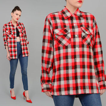 Vintage 50s Checkered Flannel Shirt 1950s Mark Twain Wool Lumberjack Buffalo Plaid Long Sleeve Button Up Shirt UNISEX Red Black White M