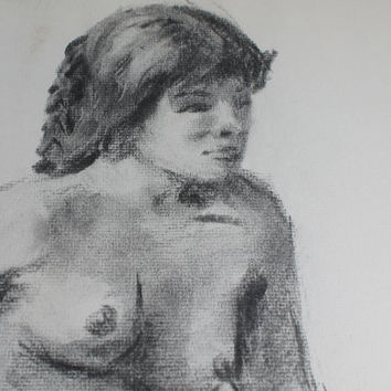 Large Vintage Art School Charcoal Nude Original Drawing, Poster Size Sketch, 24 x 18