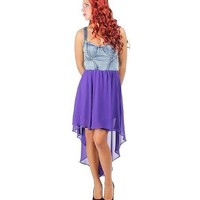 Bright Purple High Low Contrast Dress - SIZE S