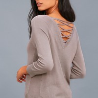 Allan Taupe Lace-Up Sweater Top
