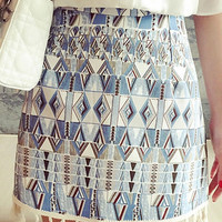 Blue Tribal Print Tassel Mini Skirt