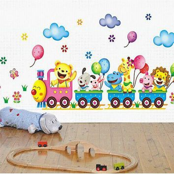XY3013 Free shipping small adhesive wall stickers vinyl cute animals train wall tattoos for baby/children room 25*43 cm