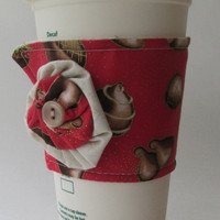 Chocolate Coffee Cup Cozy / Valentine's Day Drink Sleeve / Truffles