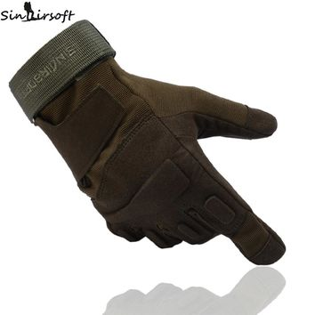 SINAIRSOFT Tactical non-slip riding Full Finger Gloves Army Military Breathable Nylon Airsoft Shooting double Gloves