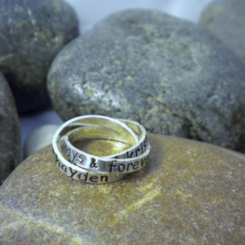 Interlocking Rings Hand Stamped Sterling by SayWhatCreations