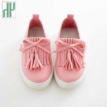 HH Kids shoes spring girls leather shoes princess tassel Flats children shoes girls cu