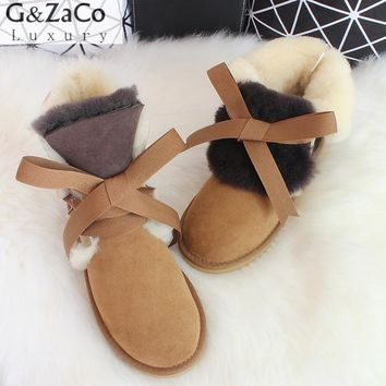 G&Zaco Luxury Sheepskin Snow Boots Women Genuine Leather Short Sweet Strap Boots Winter Wool Sheep Fur Boots Girl Winter Shoes