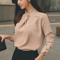 2017 Spring long sleeve stand collar Khiki chiffon shirts women work wear office OL chiffon blouses lady casual chiffon pullover