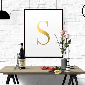 Letter S Custom initial name print art in Gold Foil romantic Art Deco style birthday gift girls/Boys wall art hanging baby decor GOLD FOIL