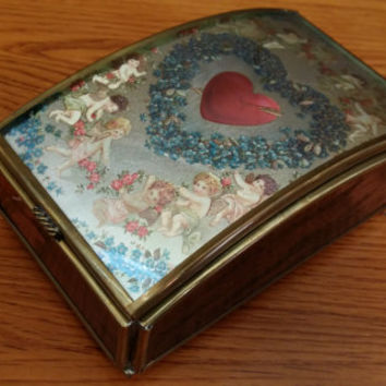 Vintage Brass Hearts and Cherubs Rose Glass Mirror Bottom Trinket Box by Via Vermont Perfect for Jewelry Storage Gift Giving Proposal