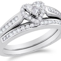 10K White Gold Diamond Ladies Bridal Engagement Ring with Matching Wedding Band Two 2 Ring Set - Halo Heart Shape Center Setting w/ Channel Set Princess Cut & Round Diamonds - (.55 cttw)