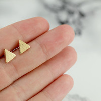 tiny triangle stud earrings, gold plated, minimalist