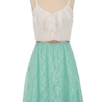 Belted Ruffle Front Lace Skirt Dress