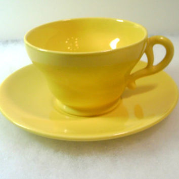 Vintage Franciscan El Patio Cup and Saucer - Glossy Bright Yellow - 1940's