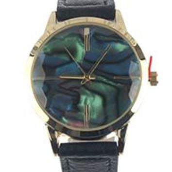 Faceted Iridescent Face Leather Band Fashion Watch