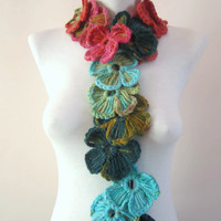 Crochet Scarf,Flower scarf,Lariat scarf,Gift for her,Women scarf
