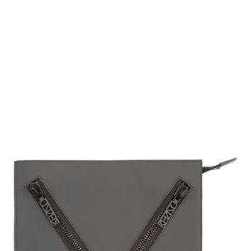 Kenzo Grey Rubberized Leather Zip Pocket Clutch