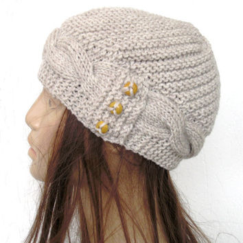 Hand Knit  Hat-  Cloche Hat  in wheat Beige Womens cable knit   Hat  Spring  Autumn  Winter Accessories Fashion Mothers Day Gift