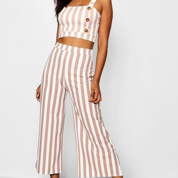 Jade Stripe Square Neck Bralet Trouser Co-ord