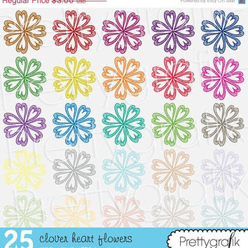 30% OFF sale 25 flower heart clipart commercial use, vector graphics, digital clip art, digital images - PGCLPK502