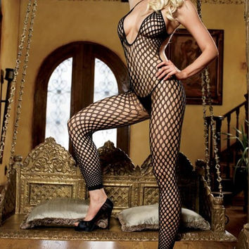 Seamless Halter Crochet Net Footless Bodystocking in OS