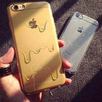 HOT Cute Cartoon Phone Cases For iPhone5 5S / 6 4.7'' Melting Ice Cream Transparent Soft TPU Protection for iPhone 5S Case Cover