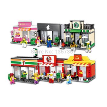 Mini Street Scene Retail Store Single Sale Shop fast food Coffee McDonald Architecture Building Blocks Sets Model Toys