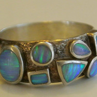 Vintage Opal And Sterling Silver Ring