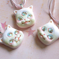 Lolita Mystic Mow Mow hand painted kitty necklace by Rudy Fig, cat, kitten, third eye, kawaii, wearable art, signed