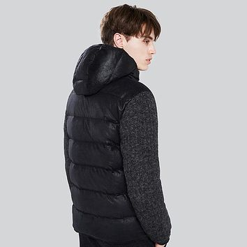 Men Thick Down Jacket Clothing Casual Knitted Sleeve Patchwork Seamless Jacket Down Winter Coats
