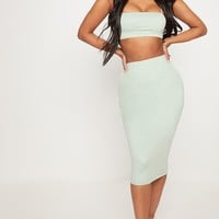 Shape Sage Green Faux Suede Midi Skirt