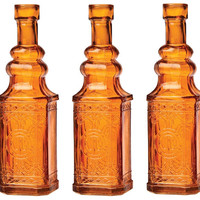 Small Antique Orange Bottle Vase (Set of 3)