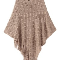 Khaki V-Neck Tassel Cape
