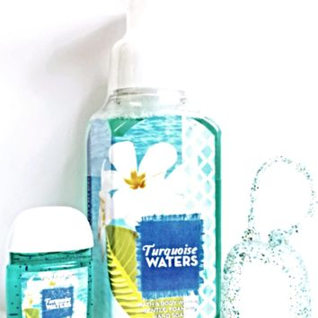 Bath and Body Works Turquoise Waters Foaming Hand Soap,PocketBac, Glitter Holder
