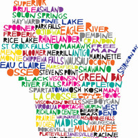 11x12 WISCONSIN Digital illustration Print of Wisconsin State with Cities Listed