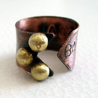 Personalized organic copper ring brass dots adjustable stamped steampunk ring statement ring handmade ring .Free shipping
